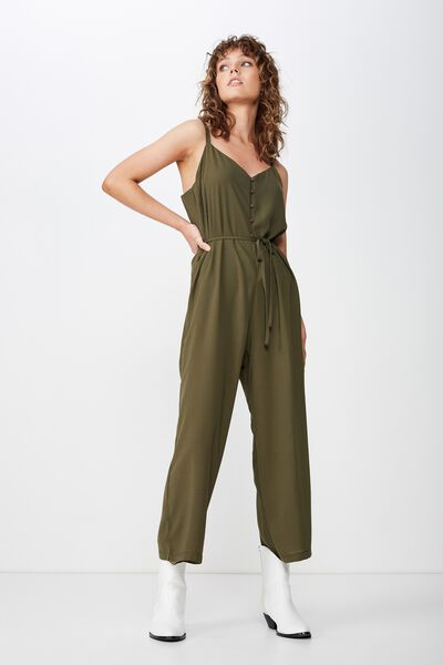Woven Jolene Strappy Jumpsuit, OLIVE KNIGHT