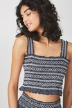 Louise Shirred Co Ord Top, DANI STRIPE DEEPEST NAVY/WHITE