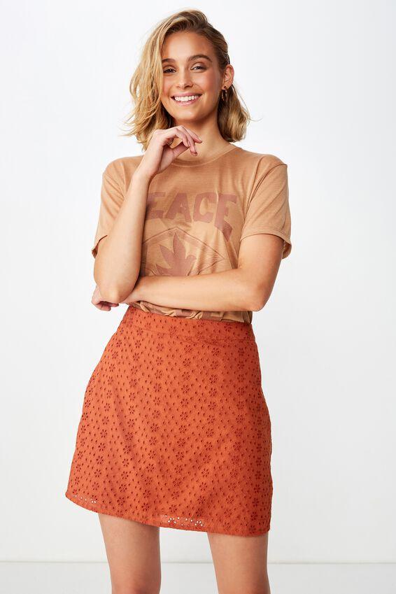 Woven Stevie Broderie Mini Skirt, RUST TAN