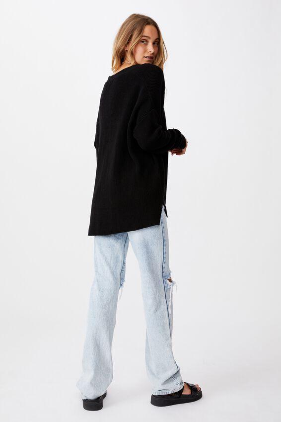 Cotton Boyfriend Cardigan, BLACK