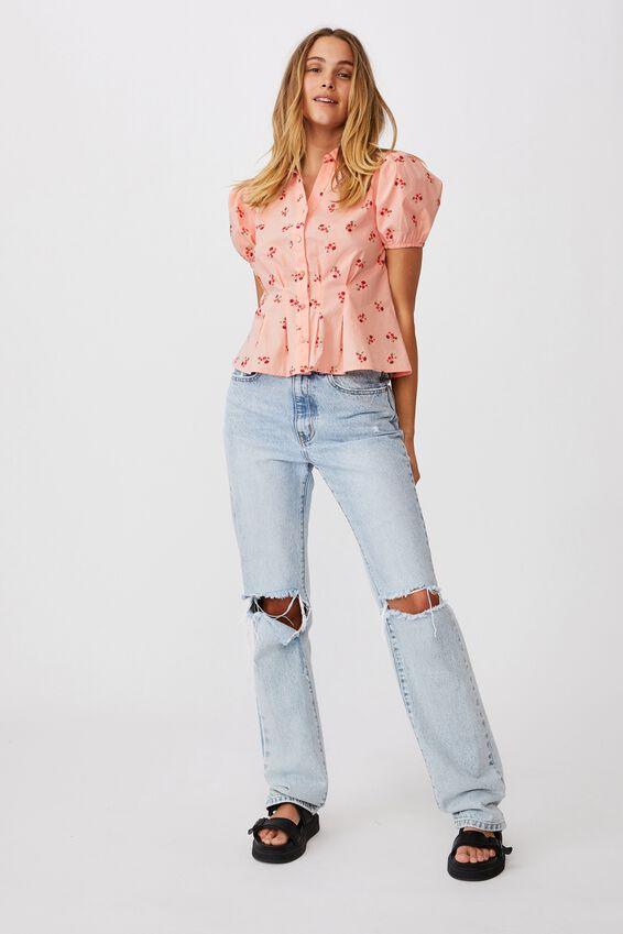 Lila Puff Sleeve Shirt, ARABELLA FLORAL PEACHED PINK MINI