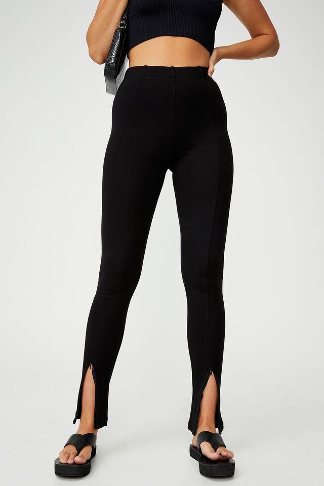 Zip Front Ponte Legging, BLACK