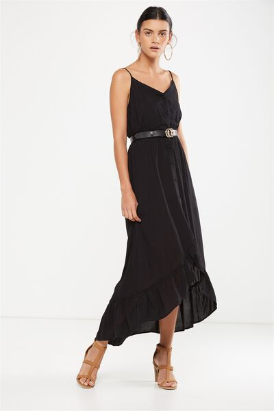 Woven Katrina Button Through Hi Low Maxi Dress, BLACK