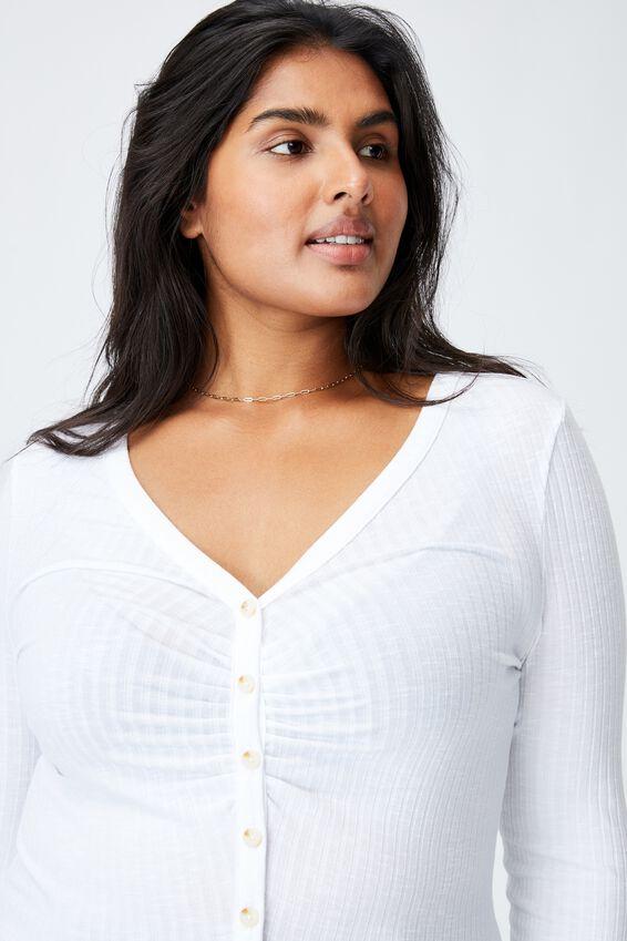 Curve Renee Long Sleeve Cardi, WHITE
