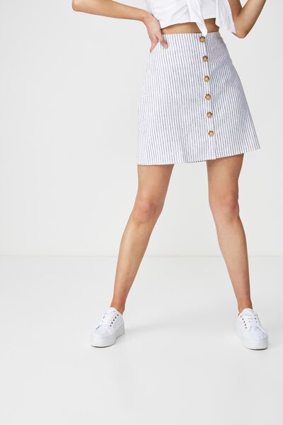 Woven Medina Mini Skirt, LIV EVEN STRIPE BLACK AND WHITE