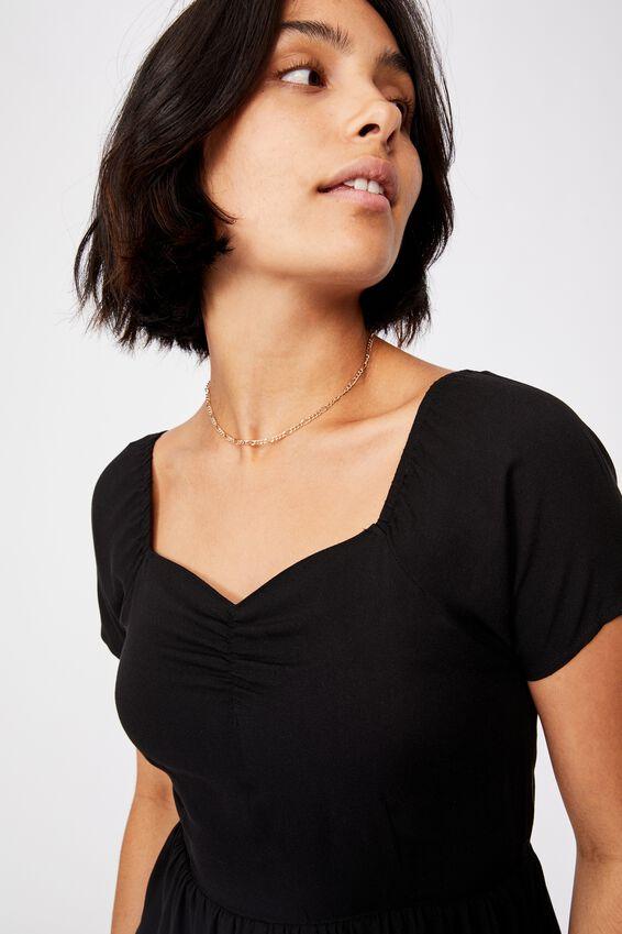 Woven Selena Short Sleeve Sweetheart Playsuit, BLACK