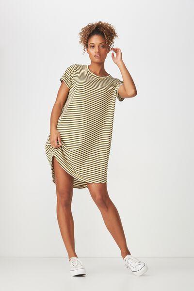 Tina Tshirt Dress 2, GIN STRIPE GARDENIA