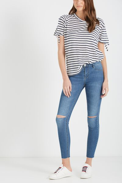 Mid Rise Jegging, STONE BLUE KNEE SLASH
