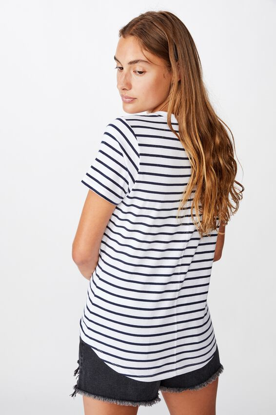 The One Fitted V Tee, COLE STRIPE WHITE MOONLIGHT