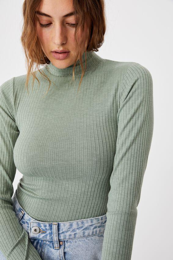 Mila Mock Neck Long Sleeve Top, MOUNTAIN SAGE MARLE