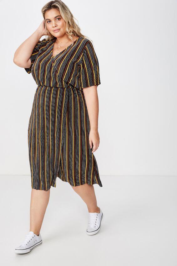 Curve Midi V Neck Dress, MAC STRIPE BLACK