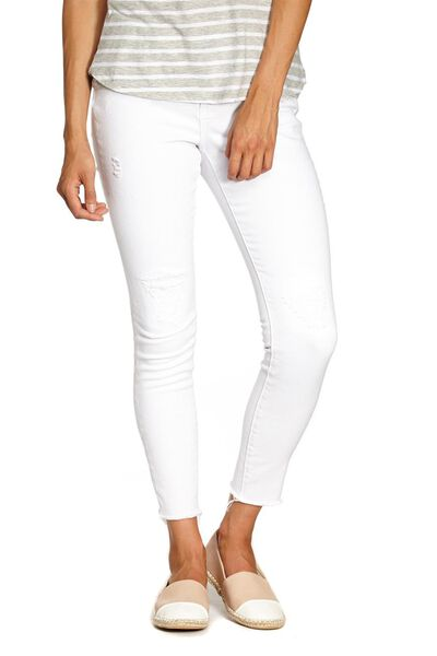 Mid Rise Cropped Skinny Jean, WHITE