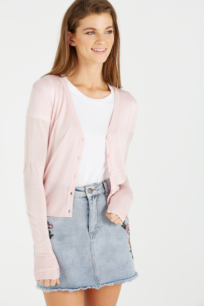 Cutesey 2 Button Through Cardi, PINK LADY MARLE