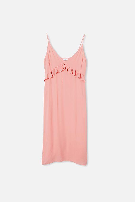 Woven Max Strappy Midi Dress, STRAWBERRY SORBET
