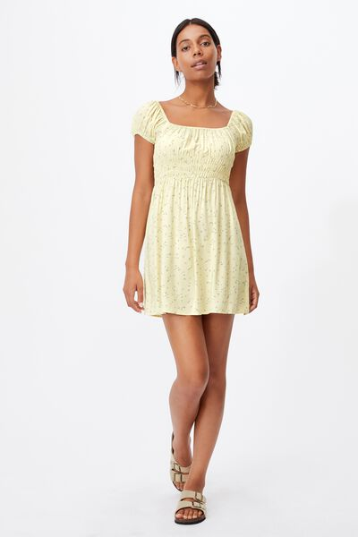 Woven Petite Frankie Puff Sleeve Shirred Fit And F, RIDDLE DITSY LEMON