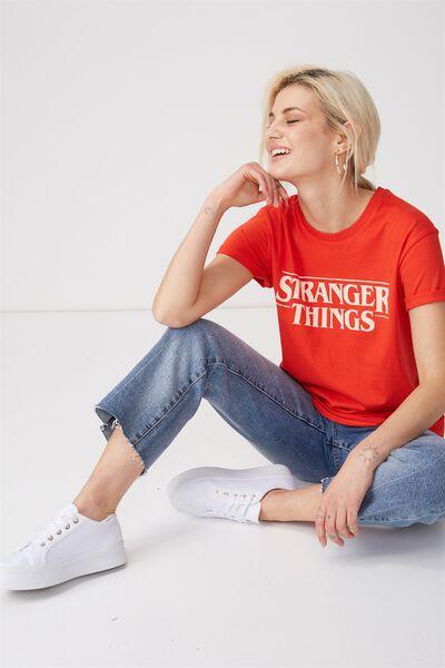Tbar Fox Graphic T Shirt, LCN STRANGER THINGS LOGO/FLAME SCARLET
