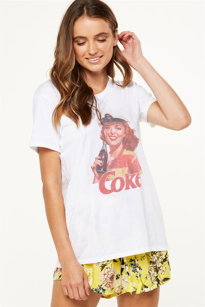 Tbar Fox Graphic T Shirt, LCN COKE SAILOR GIRL/WHITE