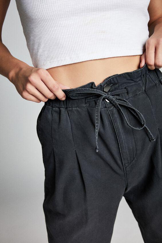 Paperbag Pant, WASHED BLACK