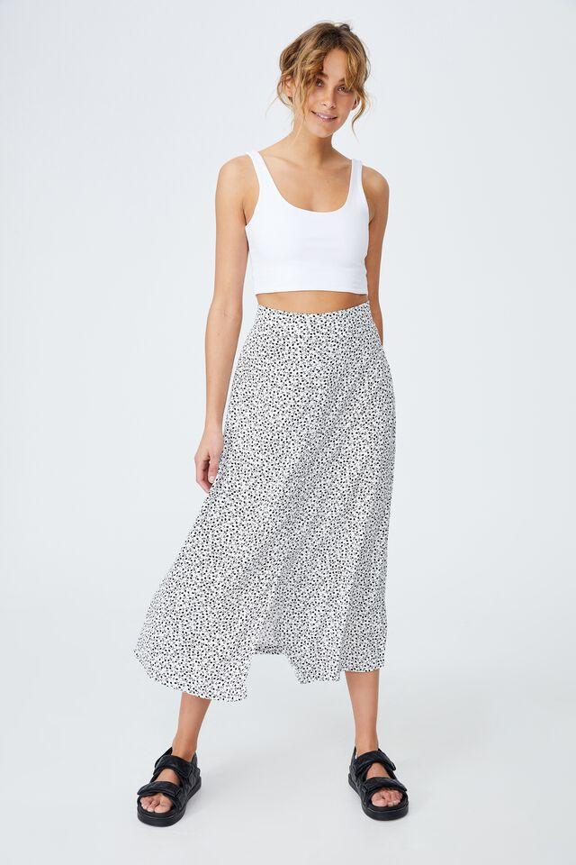 Woven Finley Button Down Midi Skirt, PHOEBE DITSY WHITE