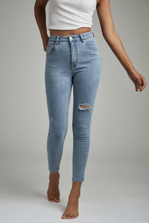 High Rise Cropped Skinny Jean, FLYNN BLUE RIP