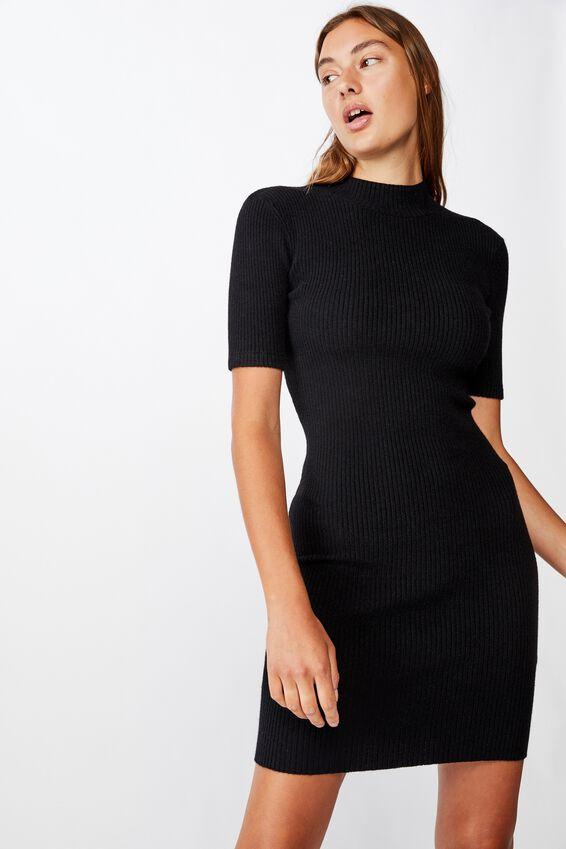 Tahlia True Knit Mini Dress, BLACK