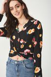 Whitney Twist Front Blouse, FALLING ROSE RED