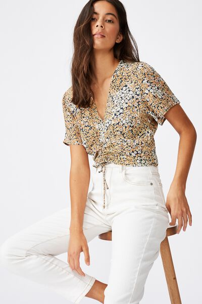 The Ultimate Rouched Front Tea Blouse, MANDY MULTI DITSY EBONY