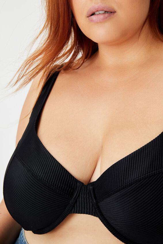 Curve Underwire Bikini Top, BLACK RIB