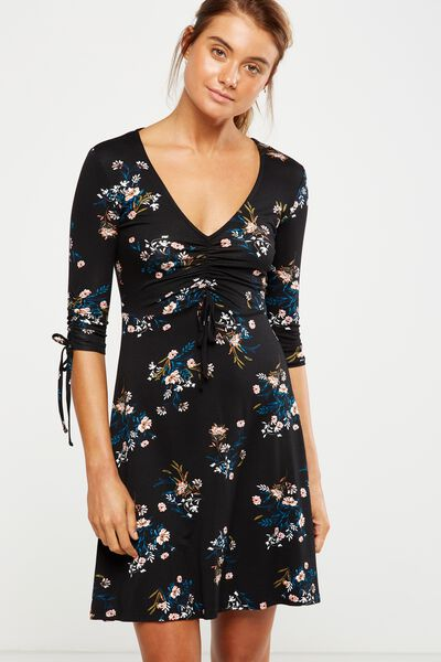 Carmel Rouched Fit Flare Dress, HOLLY FLORAL BLACK