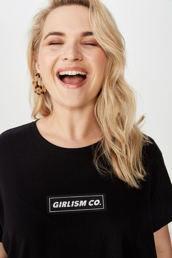 Curve Graphic Tee, GIRLISM CO/BLACK