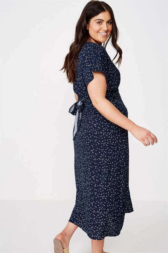 Curve Button Front Midi Dress, CARLY DITSY MOONLIGHT