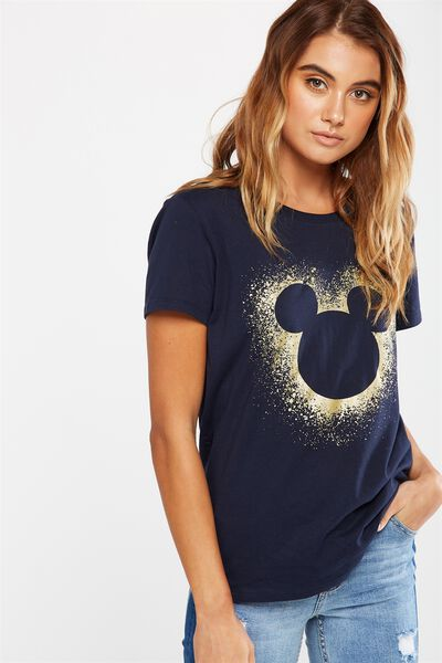 Tbar Fox Graphic T Shirt, LCN MICKEY GLITTER/MOONLIGHT