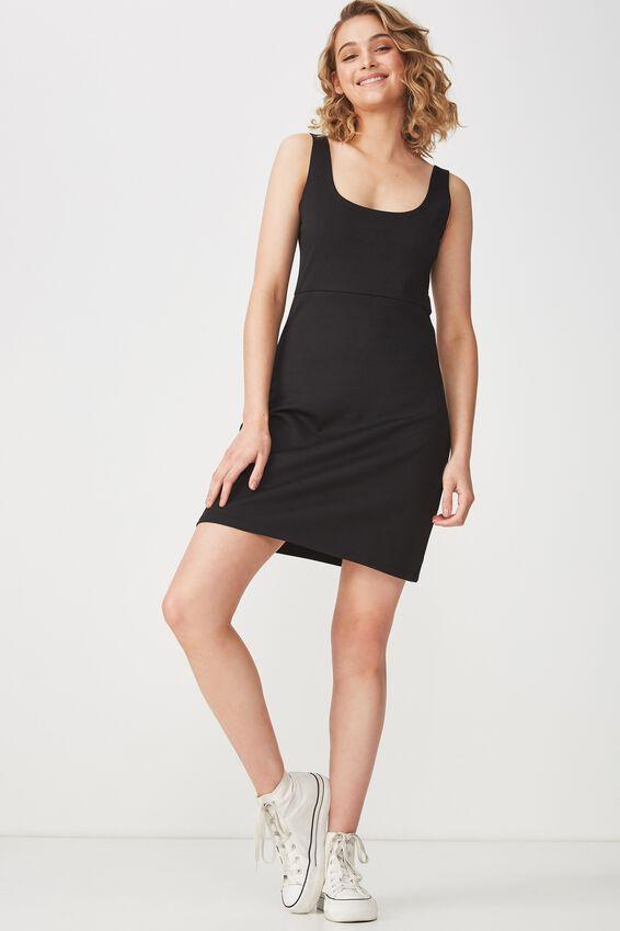 Mac Thick Strap Pinafore Mini Dress, BLACK