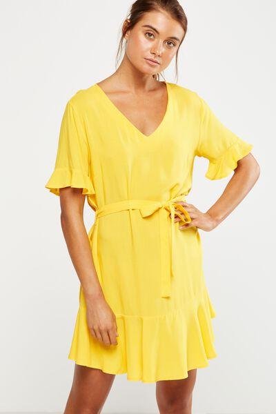 Woven Matina 3/4 Sleeve Dress, SUNFLOWER