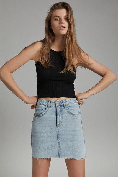 Classic Stretch Denim Mini Skirt, APOLLO BLUE