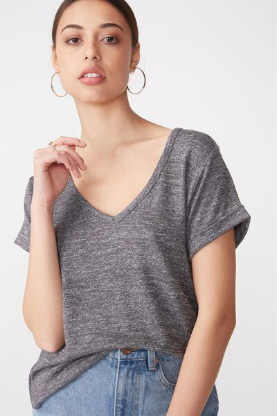 Karly Short Sleeve V Neck Top, CHARCOAL TWIST