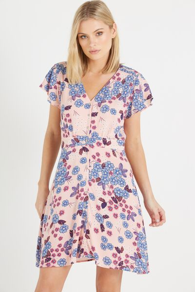 Woven Bianca Short Sleeve Tea Dress, PAULA FLORAL SILVER PINK