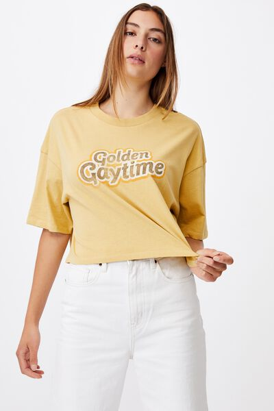 Chopped Boyfriend Lcn Tee, LCN STR GOLDEN GAYTIME/GOLDEN SUN
