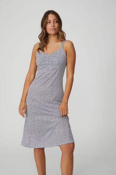 Taylor Strappy Midi Dress, STARBURST DITSY BLACK WHITE