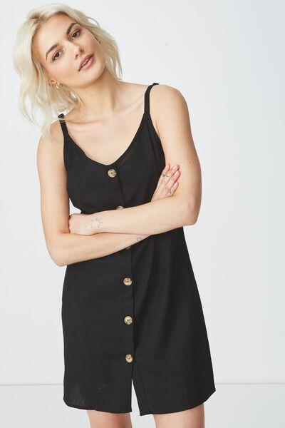 5b2823d9c409 Woven Margot Slip Dress, BUTTON THROUGH BLACK