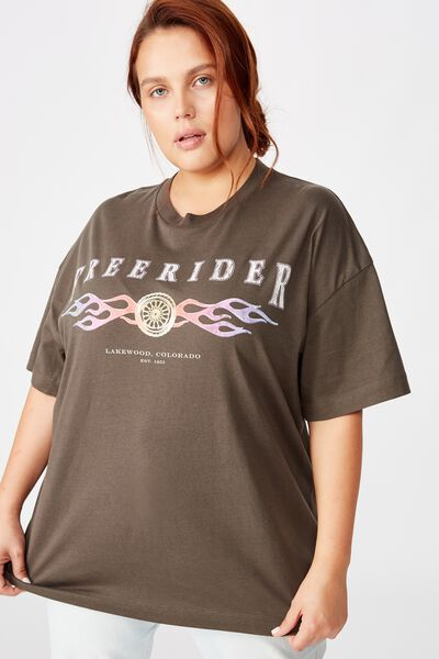 Curve Oversized Graphic Tee, FREERIDER/SLATE GREY