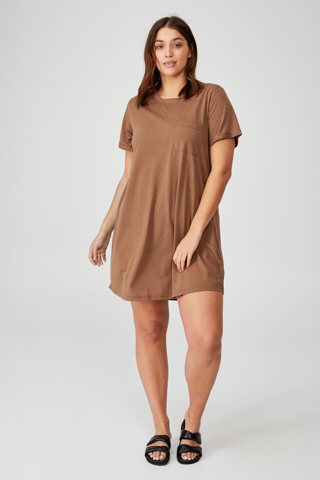 Curve Relaxed Tee Dress, COCOA BEAN