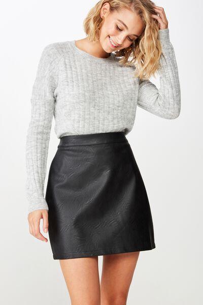 Woven Sasha Pu Mini Skirt, BLACK