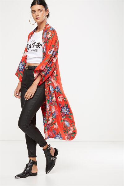 Ali Longline Kimono, HILARY VINE FLORAL SCARLET RED
