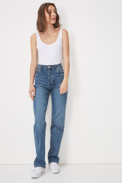 High Straight Stretch Jean, 90S BLUE RIPS