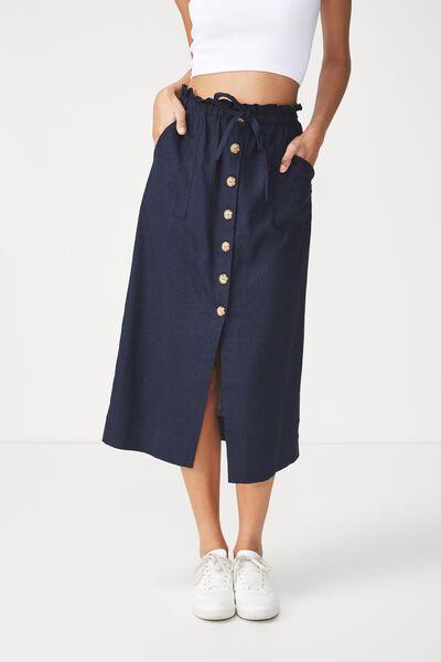 Woven Molly Button Through Midi Skirt, NAVY