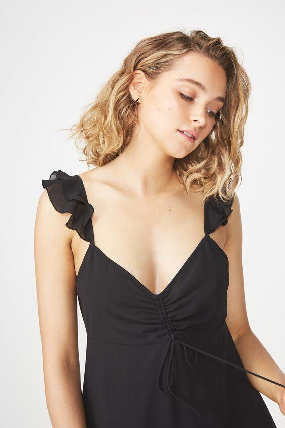 Woven Luna Rouched Front Midi Dress, BLACK