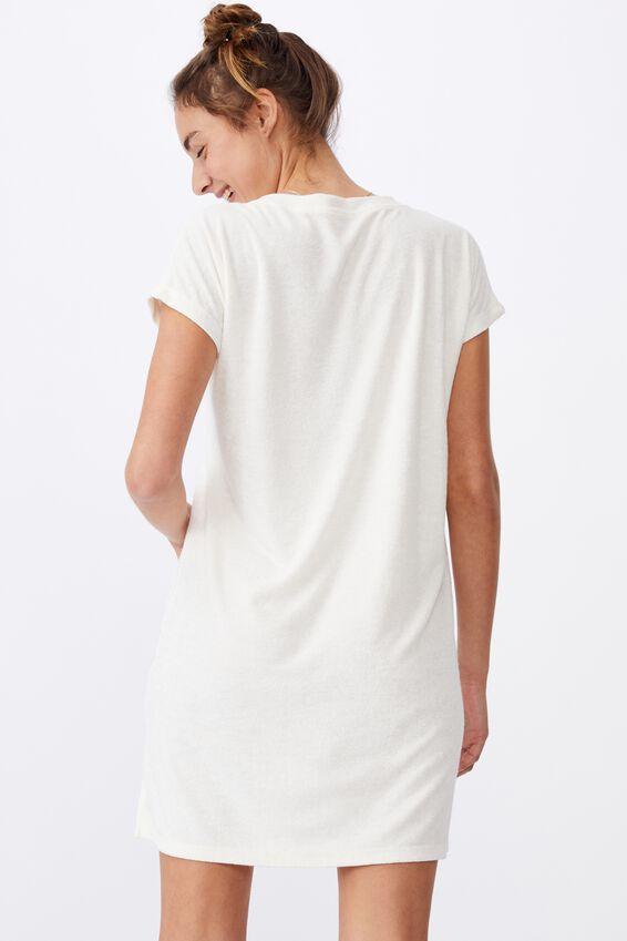 Terry Tshirt Dress, SEASHELL WHITE