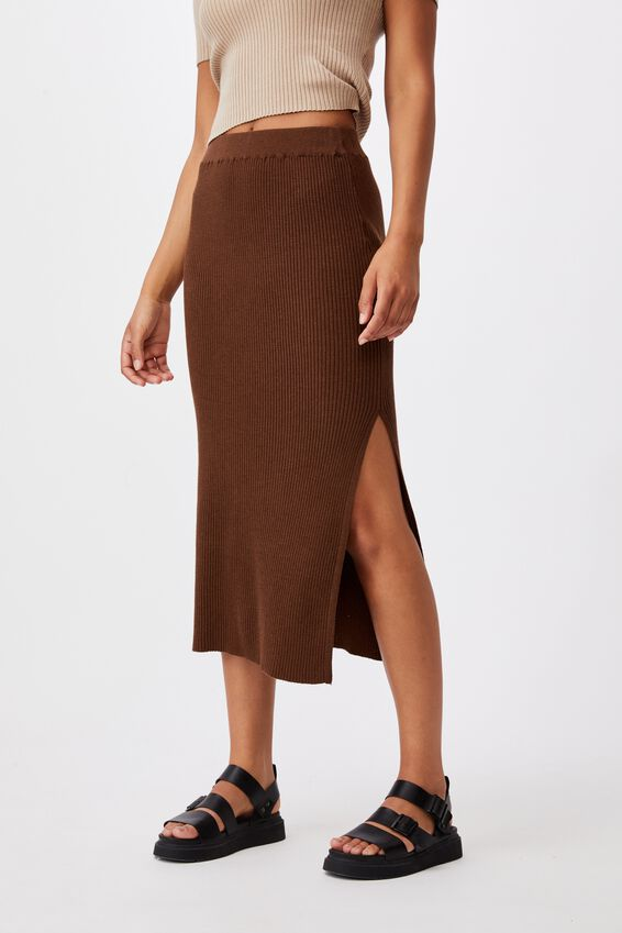 Stella Knit Midi Skirt, WOODLAND BROWN