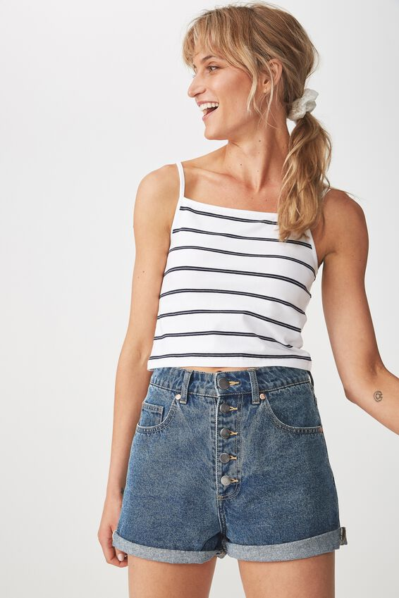 Fashion Crop Cami, MARY STRIPE WHITE/NAVY